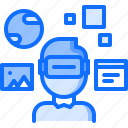 3d, glasses, interface, man, reality, virtual, vr icon