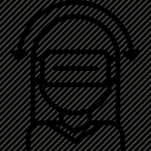 3d, glasses, head, reality, turn, virtual, vr, woman icon