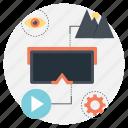 virtual reality headset capabilities, vr gadget capabilities, vr headset capabilities, vr headset functionality, vr headset futuristics icon