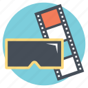 3d video, motion picture, stereoscopic film, three dimensional film icon
