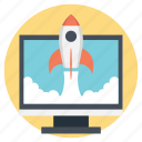 game launch, military games, rocket launch, spaceship, video game spaceship icon