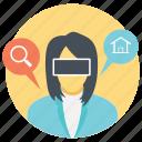 business woman wearing virtual glasses, business woman wearing virtual reality headset, businesswoman with virtual glasses, virtual reality digital glasses, virtual reality headset icon