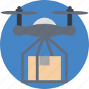 delivery drone with a package, drone carrying delivery box, drone delivery service, drone fast delivery, shipping by quadcopter icon