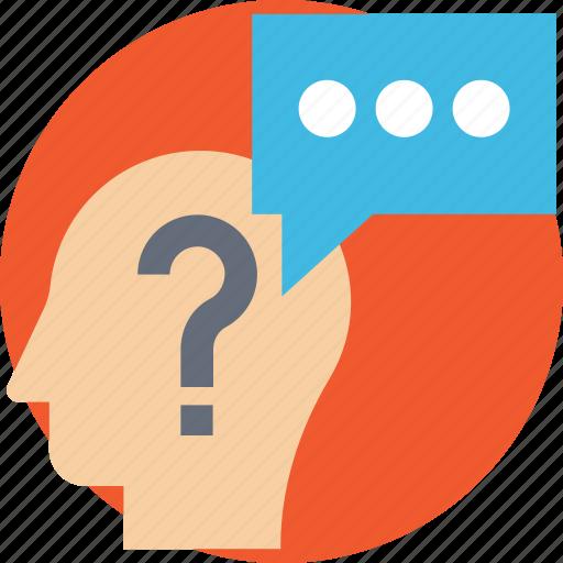 man thinking, mental process, psychology, question mark brain, quiz icon