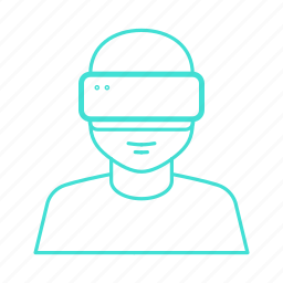 ar, augmented, display, head, reality, virtual, vr icon