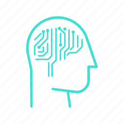 artificial, computer, head, intelligence, mind, robot, smart icon