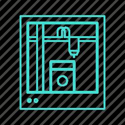 3d, artificial, contruction, dimension, printer, printing, three icon