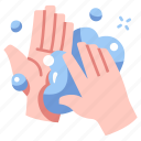 bacteria, clean, hand, infection, soap, wash, water icon