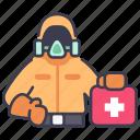 coronavirus, disease, epidemic, infection, mask, protection, suit icon
