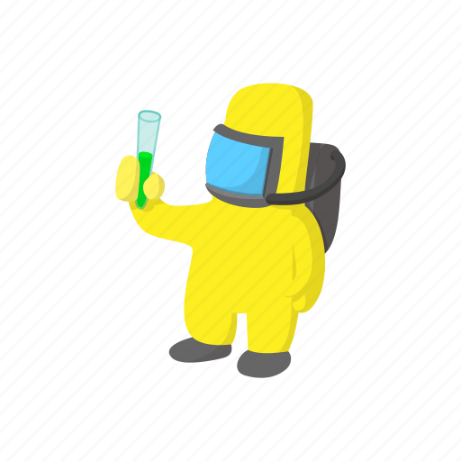 cartoon, infection, mask, protection, safety, suit, virus icon