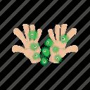 bacteria, cartoon, germ, hand, health, infection, virus icon