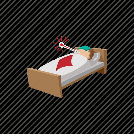 bed, cartoon, health, ill, medical, medicine, sick icon
