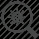 tests, medical, magnifier, analysis, exam, virus icon