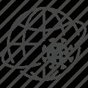 coronavirus, globe, orbit, virus, world icon