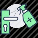 disinfection, doorhandle, knob, spray, treatment, virus