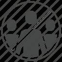 coronavirus, crowd, groups, no, prevention, virus icon