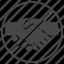 coronavirus, handshake, no, prevention, prohibition, virus icon