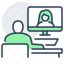 chat, distant, telecommuting, video, work, workplace icon