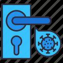 corona, door, entrance, knob, virus