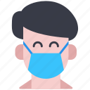 bacteria, face, man, mask, virus