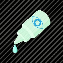 bottle, cartoon, drop, dropper, eye, liquid, optical icon