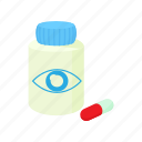 cartoon, eye, medical, medicine, pill, treatment, vision icon
