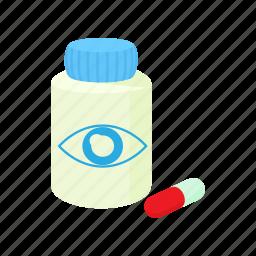 cartoon, eye, medical, medicine, pill, treatment, vision icon