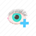 cartoon, eye, far, hyperopia, medical, plus, vision icon