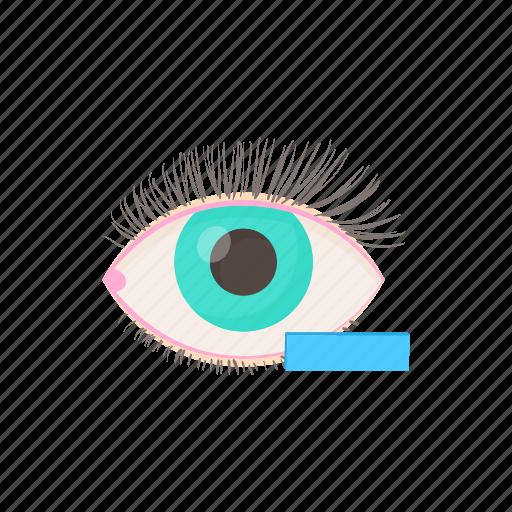 cartoon, eye, health, medical, minus, myopia, vision icon