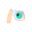blue, cartoon, eye, finger, lens, optic, optical icon