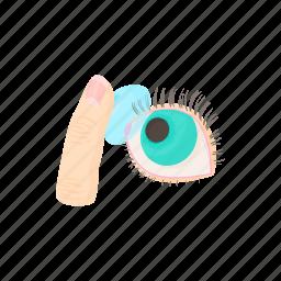 blue, cartoon, eye, finger, lens, optic, optical icon