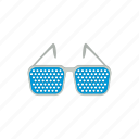 cartoon, eye, glasses, optical, pinhole, vision, white icon