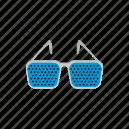 cartoon, eye, glasses, optical, pinhole, vision, white icon