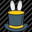 magic, magic hat, rabbit, trick icon, bunny