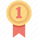 award, first place, position badge, ranking, ribbon badge icon