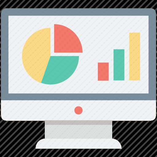 analytics, bar chart, infographic, online graph, pie chart icon