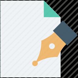 paper, pen nib, pen tip, sheet, writing icon