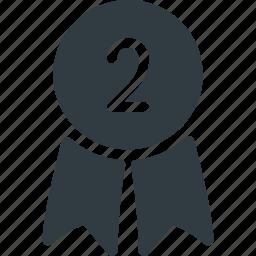 awward, badge, place, reward, second icon