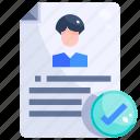 curriculum, interface, personal, portfolio, profile, resume, vitae icon