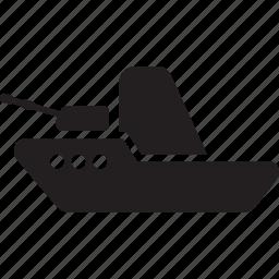 gun, military, sea, ship, shoot, war icon