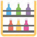 bottle corner, bottle rack, bottle storage, soft drink rack icon