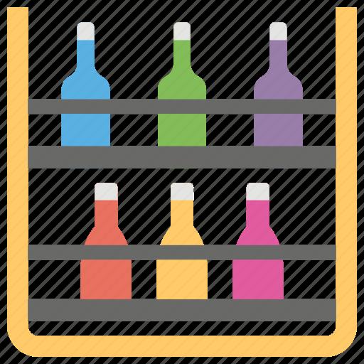 bottle corner, bottle rack, bottle storage, soft drink rack icon