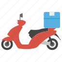 cargo delivery, courier services, logistic delivery, motorbike delivery, packaging icon