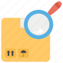 check in, package analysis, parcel tracking, parcel verification, shipment search icon