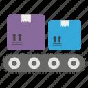 conveyor, delivery service, delivery transformation, parcel distribution, production line icon