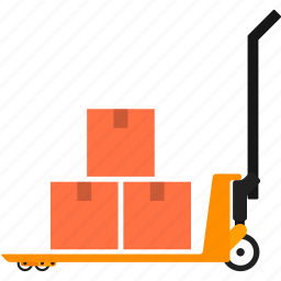 boxes, cart, goods, handtruck, package, transportation, warehouse icon