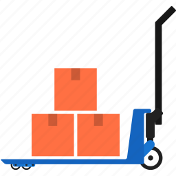 boxes, cart, delivery, handtruck, package, transportation, warehouse icon