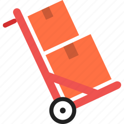 boxes, cart, delivery, goods, handle, package, warehouse icon