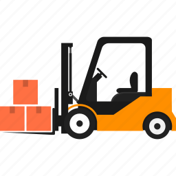 delivery, forklift, goods, logistics, package, transportation, warehouse icon