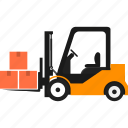 boxes, delivery, forklift, goods, logistics, transportation, warehouse icon
